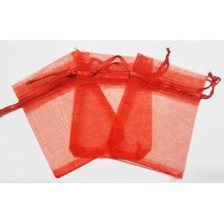 10 Sacchetti in organza per confetti Rosso