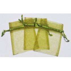 10 Sacchetti in organza per confetti Verde Oliva
