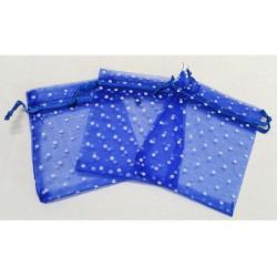 10 Sacchetti in organza pois per confetti blu