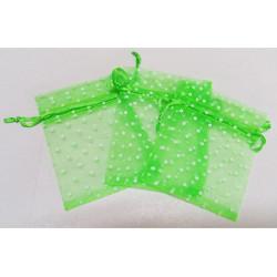 10 Sacchetti in organza pois per confetti verde mela