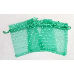 10 Sacchetti in organza pois per confetti verde