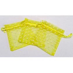 10 Sacchetti in organza pois per confetti giallo