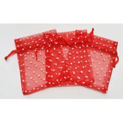10 Sacchetti in organza pois per confetti rosso