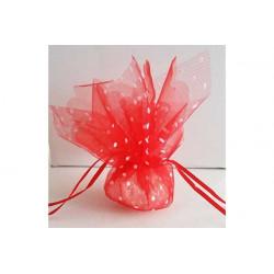 Sacchetto portaconfetti con tirante quadrato rosso a pois cm 24 pz 25