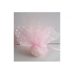 Sacchetto portaconfetti con tirante quadrato rosa a pois cm 24 pz 25