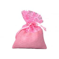 Sacchetto in stoffa e polycotton con tirante cm 10x12 pz10 rosa