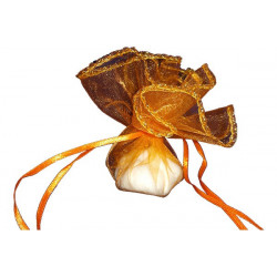 50 Veli in organza con laccetto con orlo dorato Tondo colore Arancione diam 24 cm