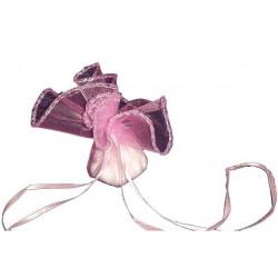50 Veli in organza con laccetto con orlo in argento Tondo colore Rosa diam 24 cm