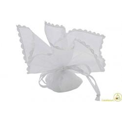 Sacchetto portaconfetti con merletti e tirante quadrato bianco cm 24 pz 12