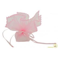 Sacchetto portaconfetti con merletti e tirante quadrato rosa cm 24 pz 12