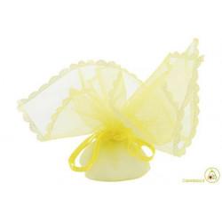 Sacchetto portaconfetti con merletti e tirante quadrato giallo cm 24 pz 12