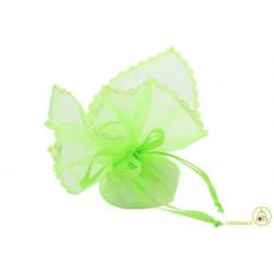 Sacchetto portaconfetti con merletti e tirante quadrato verde cm 24 pz 12