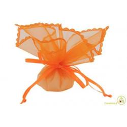 Sacchetto portaconfetti con merletti e tirante quadrato arancione cm 24 pz 12