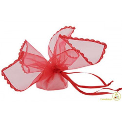 Sacchetto portaconfetti con merletti e tirante quadrato rosso cm 24 pz 12
