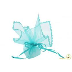 Sacchetto portaconfetti con merletti e tirante quadrato tiffany cm 24 pz 12
