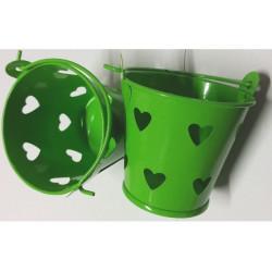 Secchiello portaconfetti bomboniera Verde con decoro cuore