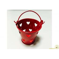 Secchiello portaconfetti bomboniera Rosso con decoro cuore