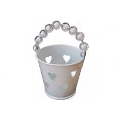 Secchiello portaconfetti bomboniera Bianco con decoro cuore e manico con perline trasparenti