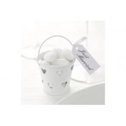 Secchiello portaconfetti bomboniera Bianco con decoro cuore