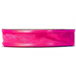 Nastro Rosa Fluo in Organza bordato in Raso 10mmx30mt