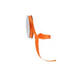 Nastro Doppio Raso Pois Arancio 15mmx50mt