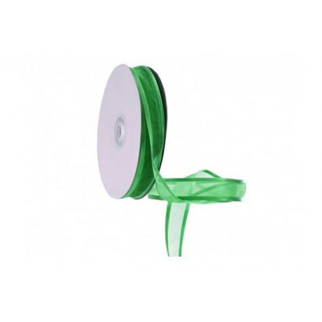 Nastro Verde Smeraldo in Organza bordato in Raso 10mmx30mt