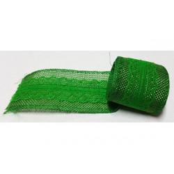 Nastro in juta con pizzo verde 5cmx2mt