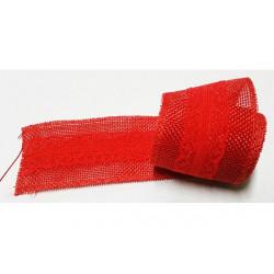 Nastro in juta con pizzo rosso 5cmx2mt